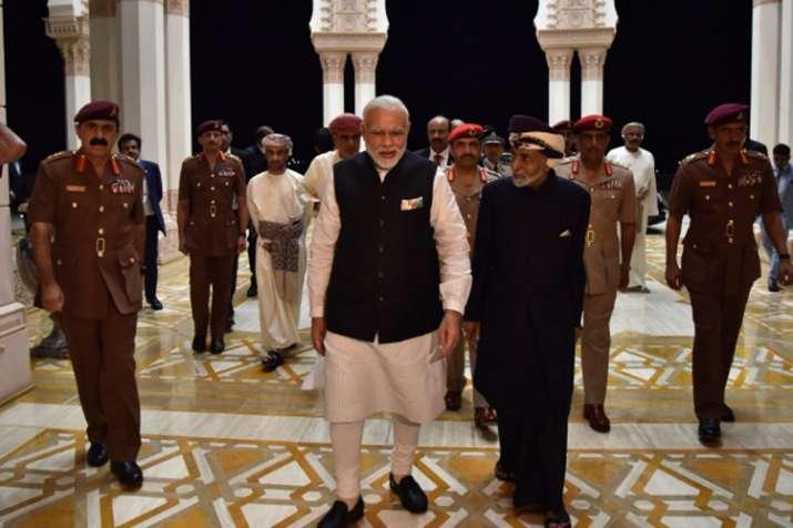 Prime Minister Narendra Modi with Sultan Qaboos of Oman