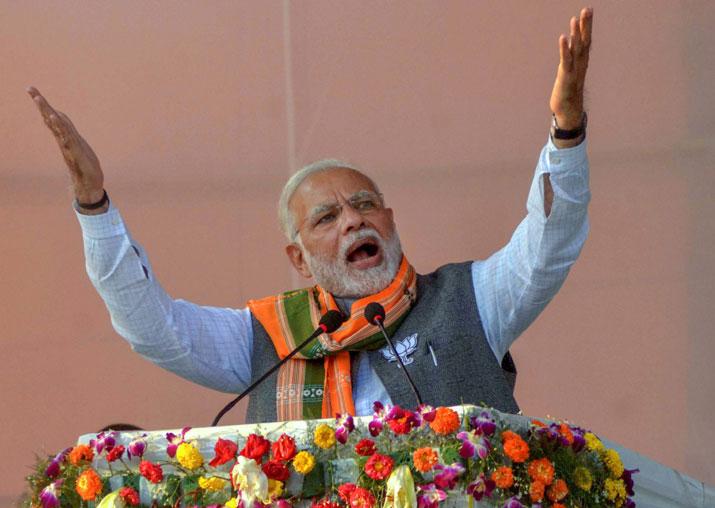 Prime Minister Narendra Modi addresses an election campaign