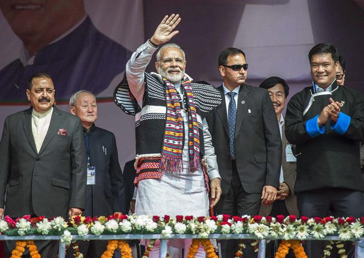 PM Narendra Modi arrivas to inaugurate the Dorjee Khandu