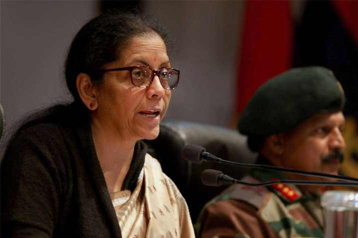 Union Defence Minister Nirmala Sitharaman addresses a press
