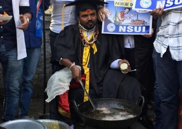 Congress' NSUI stage 'pakoda protest' in Vadodara
