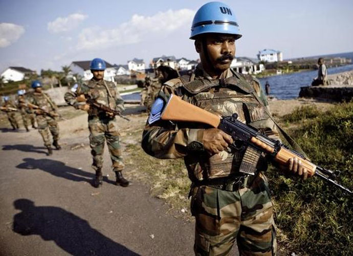 Indian soldiers from the UN Peacekeeping mission in DR