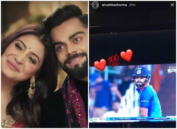 Anushka Sharma cheers for husband Virat Kohli as she scores