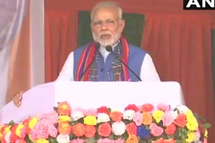 Prime Minister Narendra Modi addresses a public rally in