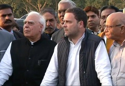 Rahul Gandhi addressing the media after meeting President
