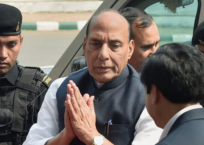 Rajnath Singh arrives to attend the inaugural session of