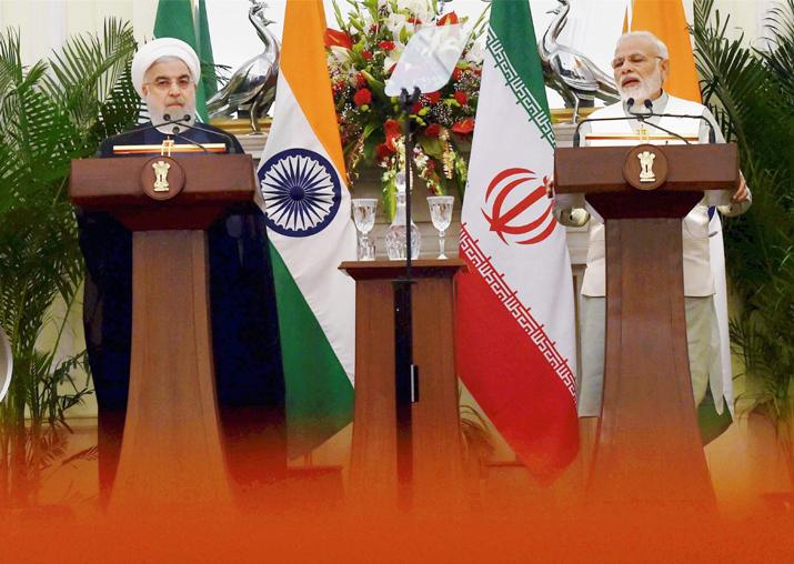 PM Narendra Modi and Iranian President Hassan Rouhani