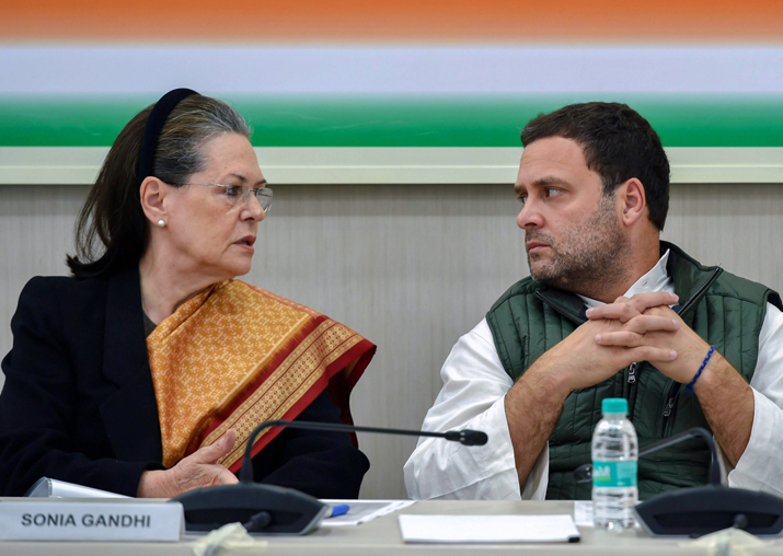 Rahul Gandhi with Sonia Gandhi at the party's 'Steering
