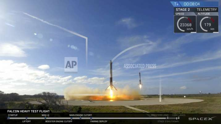 India Tv - In this image from video provided by SpaceX, two booster rockets land at Cape Canaveral, Fla., during the first test flight of the Falcon Heavy rocket on Tuesday, February 6, 2018. (SpaceX via AP)