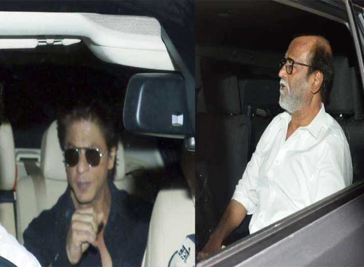 India Tv - Shah Rukh Khan and Rajinikanth at Anil Kapoor's residence