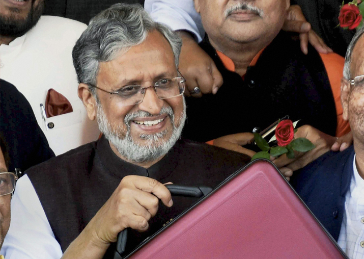Bihar Dy Chief Minister Shushil Kumar Modi arrives to