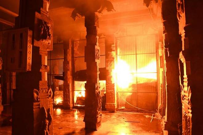 The fire erupted after the temple was closed for the day.