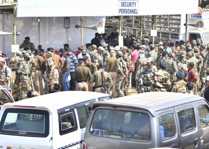 India Tv - Polling oficials and security forces personnel at a distribution centre on the eve of Tripura Assembly elections, in Agartala on Saturday.
