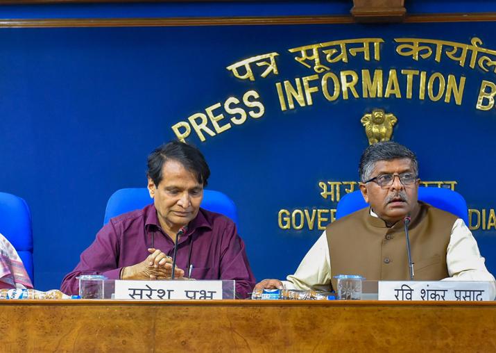 Union ministers Suresh Prabhu, Ravi Shanker Prasad during a