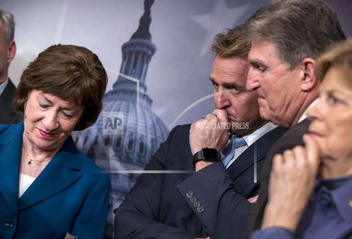 From left, Sen. Susan Collins, R-Maine, Sen. Jeff Flake,