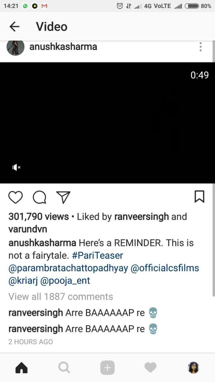 India Tv - Ranveer Singh's comment on Pari Teaser
