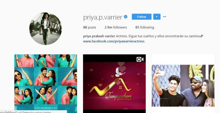 India Tv - Priya Prakash Varrier's Instagram followers