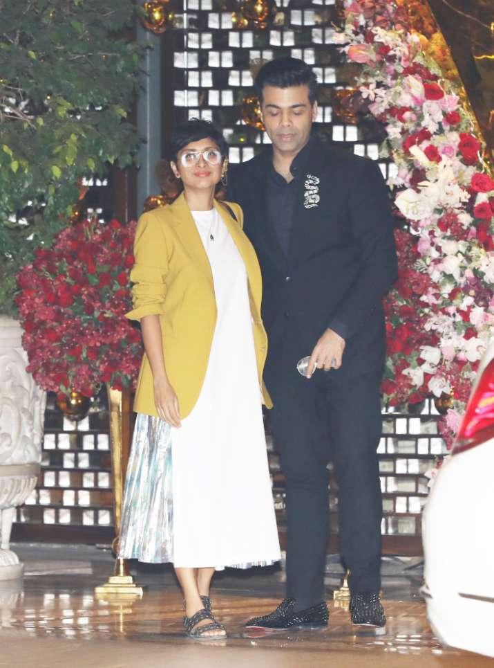 India Tv - Kiran Rao and Karan Johar at Akash Ambani and Shloka Mehta's party