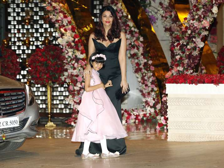 India Tv - Aishwarya Rai Bachchan and Aaradhya Bachchan at Akash Ambani and Shloka Mehta's party