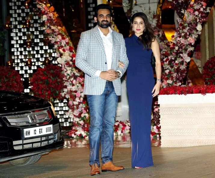 India Tv - Zaheer Khan and Sagarika Ghatge at Akash Ambani and Shloka Mehta's party