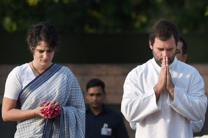 Rahul Gandhi and Priyanka Gandhi pay homage to their