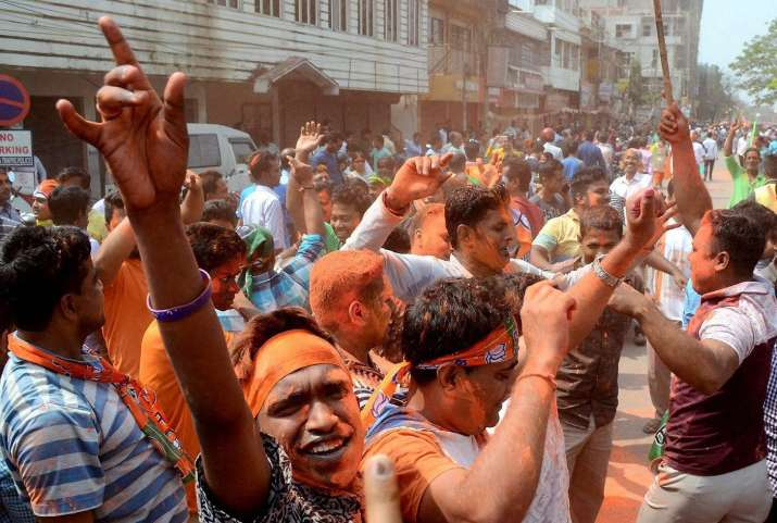 BJP workers celebrating party's lead in Tripura Elections