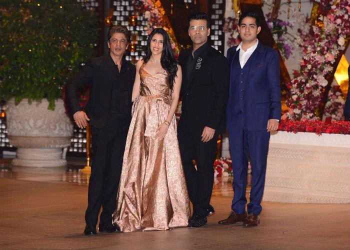 KJo, SRK attend Akash-Shloka engagement bash