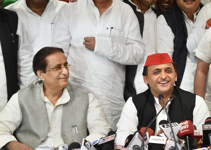 SP president Akhilesh Yadav with senior leader Azam Khan