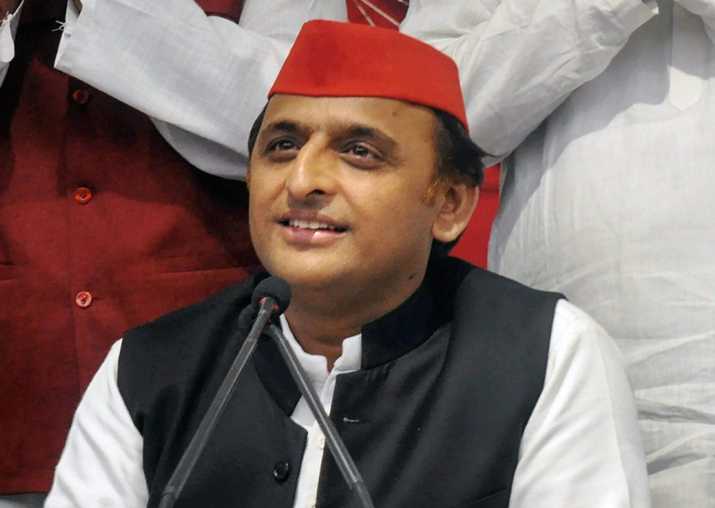 SP chief Akhilesh Yadav addresses a press conference at
