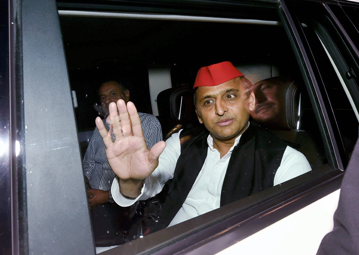 SP president Akhilesh Yadav leaves after attending a