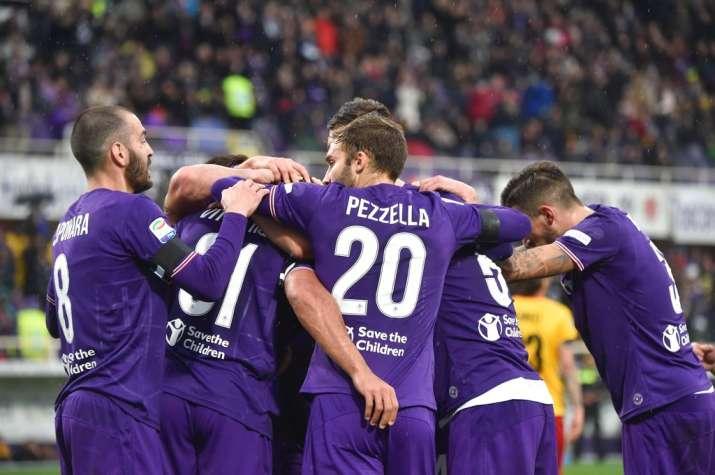 India Tv - Fiorentina players celebrate after scoring