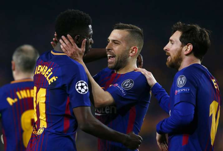 India Tv - Messi set up Dembele's first UCL and Barca goal.