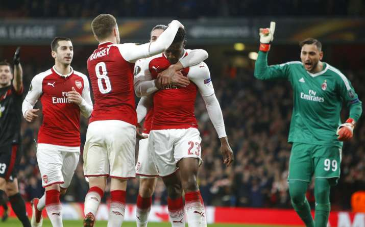 India Tv - Arsenal defeated AC Milan 5-1 on aggregate to enter the quarters