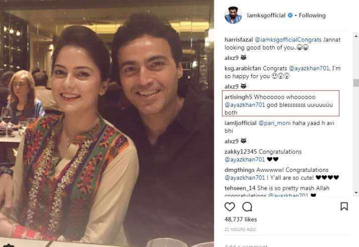 India Tv - Ayaz Khan's former girlfriend Arti Singh wished the couple on Instagram.