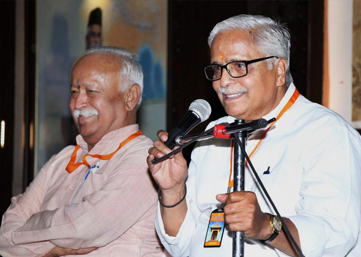 RSS general secretary Suresh 'Bhaiyyaji' Joshi speaks after