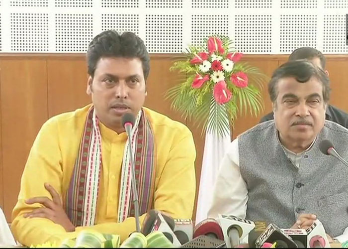 Biplab Deb with Union minister Nitin Gadkari. ANI photo