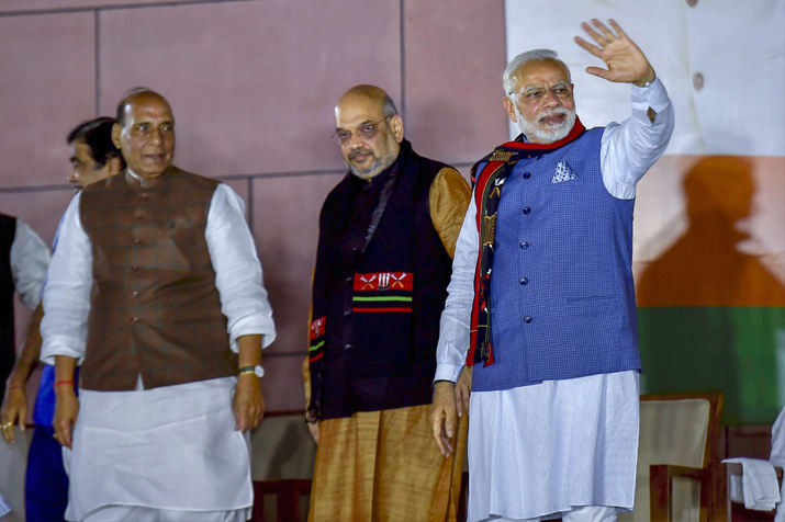 India Tv - Prime Minister Narendra Modi with Party leaders during a meeting after their victory in North-East Assembly election at party headquarters in New Delhi on Saturday.