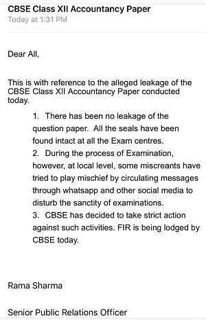 India Tv - CBSE said that rumours of leaved Accountancy paper were fake and spread by miscreants