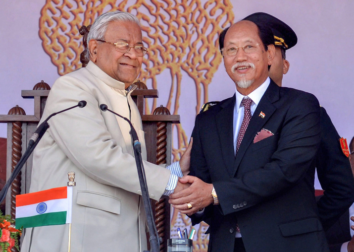 Newly appointed Nagaland CM Neiphiu Rio shakes hands with