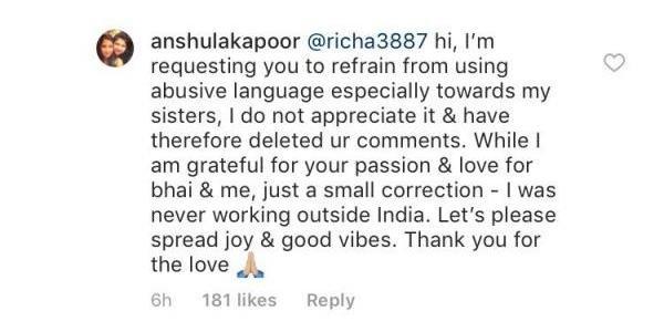 India Tv - Anshula replies to troll