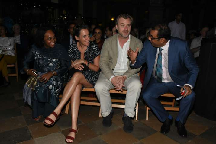 India Tv - Christopher Nolan and wife Emma Thomas with Indian filmmaker Shivendra Singh Dungarpur