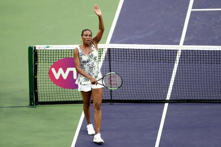 India Tv - Venus Williams celebrates after winning