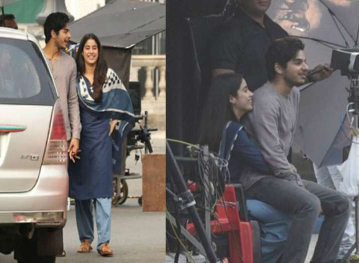 India Tv - Janhvi Kapoor and Ishaan Khatter on the sets of Dhadak