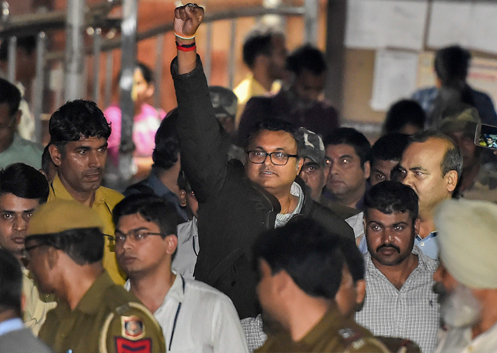 Karti Chidambaram leaves Patiala House Courts after he was