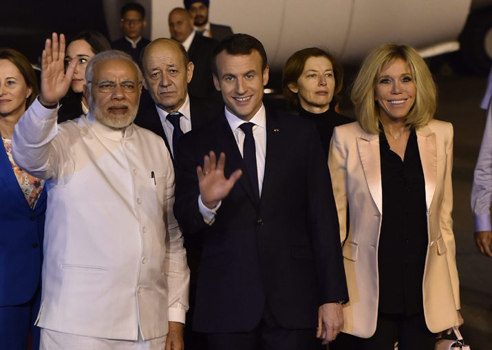 PM Narendra Modi with French President Emmanuel Macron and