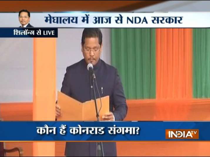 NPP chief Conrad Sangma takes oath as Meghalaya CM.