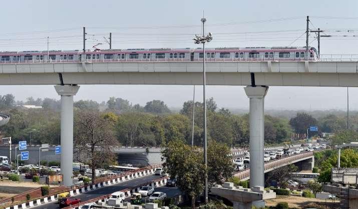 New Delhi: A Metro train moves across the new Majlis Park