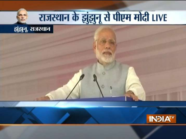 PM Modi interacts with women in Rajasthan's Jhunjhunu.