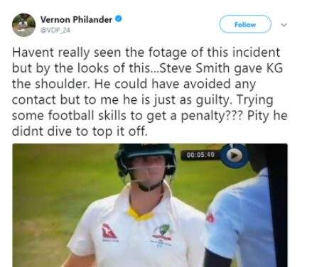 India Tv - Philander later on deleted the tweet