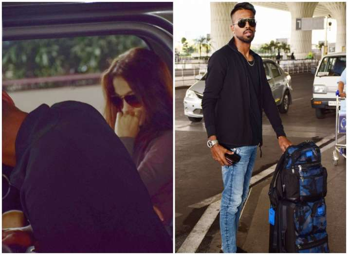 Elli AvRam sees off Hardik Pandya at Mumbai airport